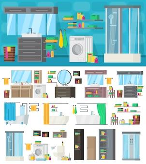 Badezimmer-innenarchitektur-schablone