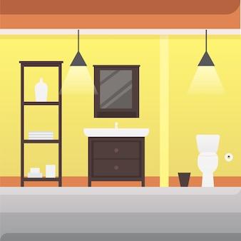 Badezimmer innenraum oder architektur und möbel illustration.