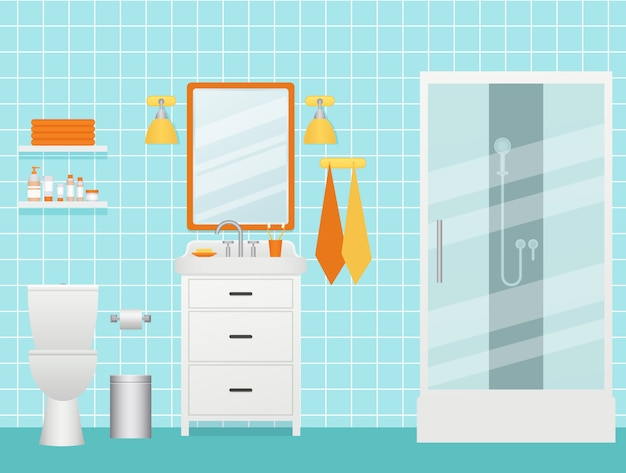 Badezimmer interieur. illustration. zimmer mit duschkabine, waschbecken und toilette.