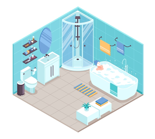 Badezimmer interieur isometrisch
