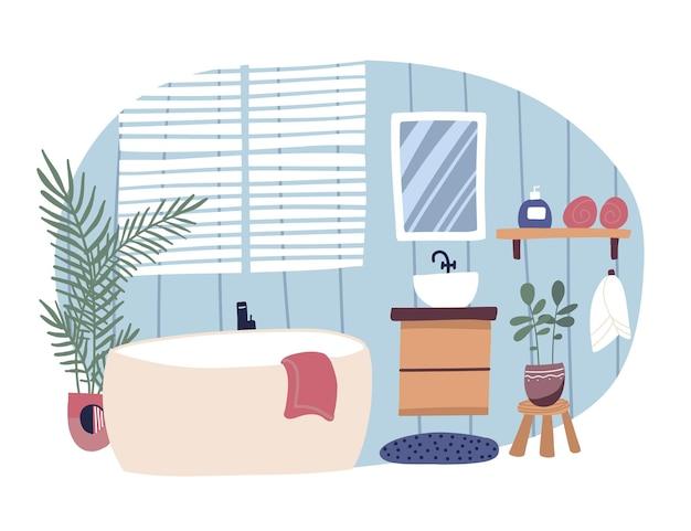 Badezimmer interieur mit badewanne und waschtisch moderne flache illustration eingerichtet