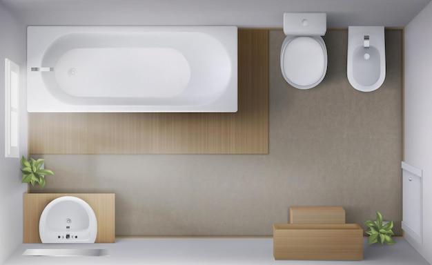 Badezimmer mit blick von oben auf den innenraum mit leerer badewanne, wc und bidet-schalen, keramikwaschbecken mit spiegelfensterteppich auf der modernen toilette auf dem boden
