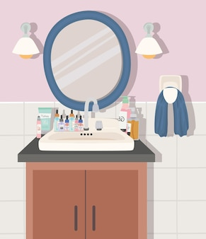 Badezimmer mit einer hautpflegeproduktillustration