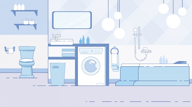 Badezimmer mit toiletten-modernem minderwertigem flachem vektor