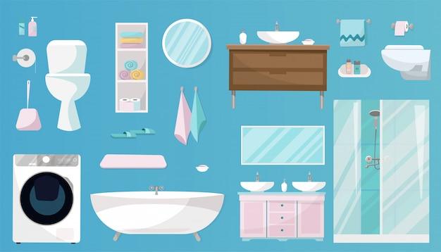 Badezimmer-set mit möbeln, toilettenartikeln, sanitäranlagen, ausrüstungen und hygieneartikeln für das badezimmer. sanitär-set isoliert