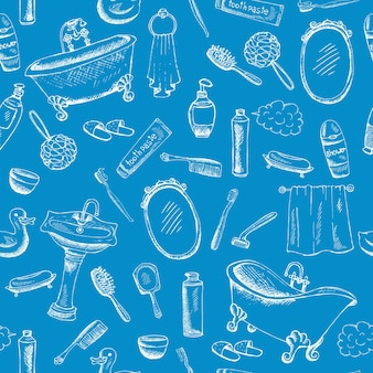 Badezimmer-themenorientiertes design auf blauem hintergrund mit zahnpasta-badewannenhandtuchgrafik und mehr.