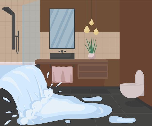Badezimmer überschwemmung mit wasser flach. defekte dusche mit verschütteter flüssigkeit.