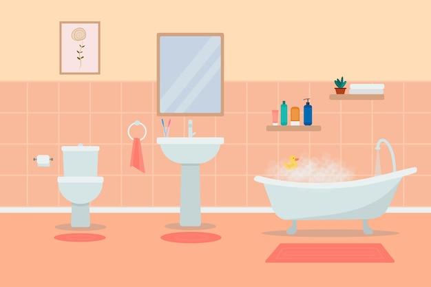 Badezimmerausstattung mit möbeln. flache illustration.