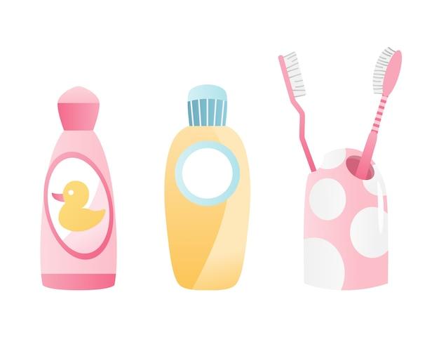 Badezimmerausstattung. zahnbürste und mundwasser flaschenelement für die zahnpflege. flaches design.