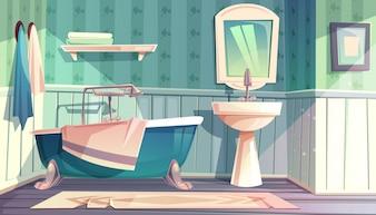 Badezimmerinnenraum in der Weinlese französischen Provence-Artillustration.