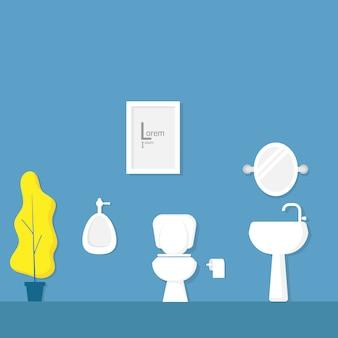 Badezimmerinnenraum mit weißer toilettenschüssel