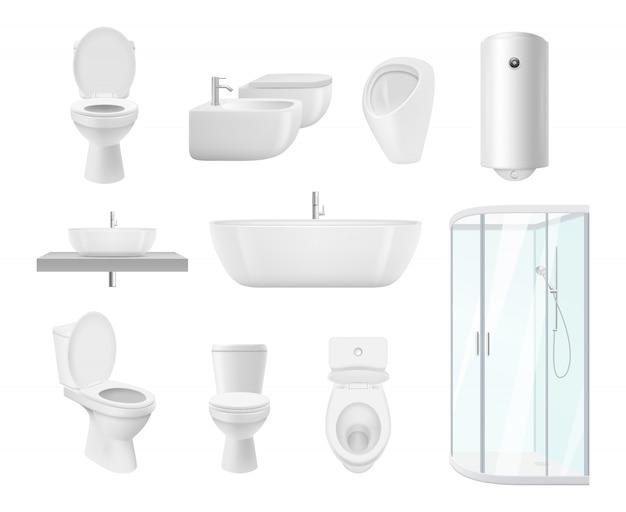 Badezimmerkollektion. waschraum wc waschbecken moderne weiße objekte des badezimmers realistische bilder