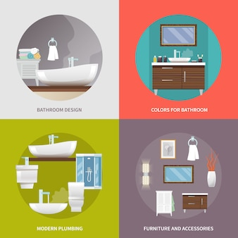 Badezimmermöbel flache ikonen