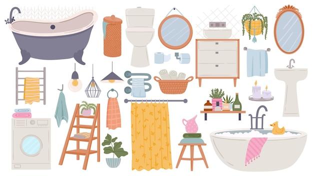 Badezimmermöbel. moderne skandinavische badewanne, waschbecken und toilette. flache hygge-bad-innenelemente, handtücher, spiegel und waschmaschine, vektorset. illustration badewannenmöbel, badezimmereinrichtung