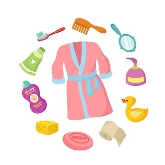 Badezimmerzubehör cartoon-set. babyhygiene lokalisiert auf weißem hintergrund