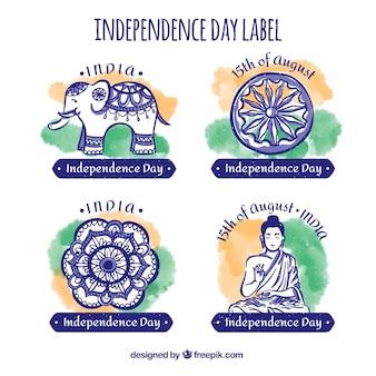 Badge sammlung für indische unabhängigkeitstag in aquarell-stil