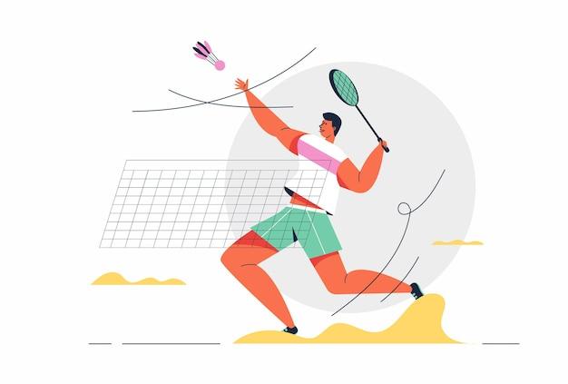 Badminton-athlet, der mit schläger und birdie in spielen spielt, zeichentrickfigur
