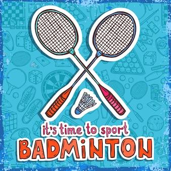 Badminton-skizze. es ist zeit zum sport