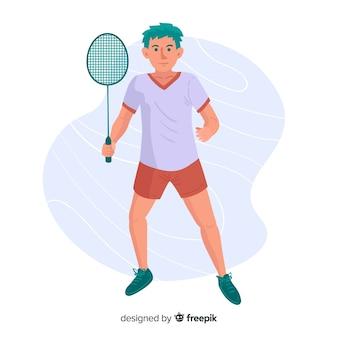 Badmintonspieler mit schläger und feder