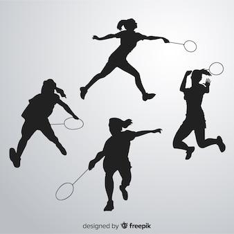 Badmintonspieler-schattenbild collectio