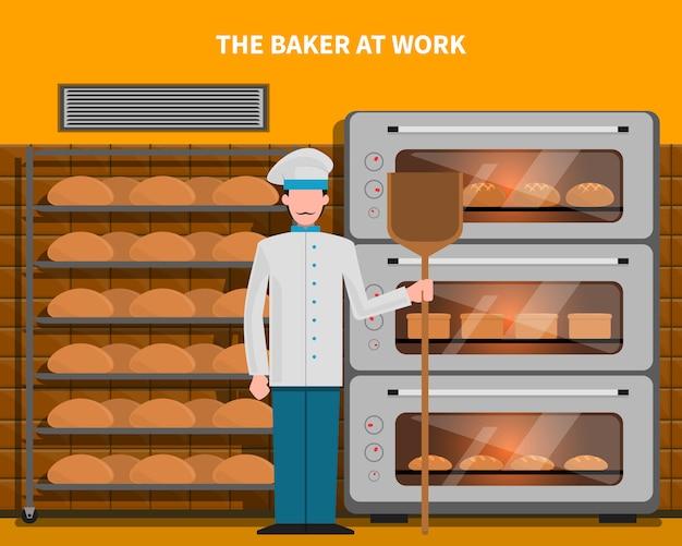 Bäcker bei der arbeit konzept