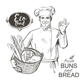 Bäcker, der einen korb mit brot trägt