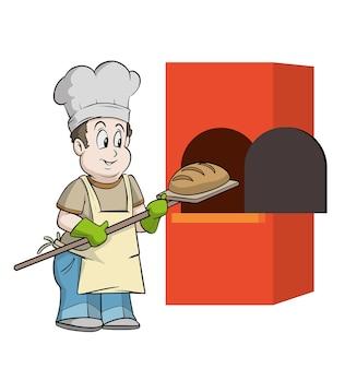 Bäcker, der sehr früh brot in den ofen legt