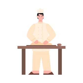 Bäcker, der teig zum kochen von brot oder gebäck knetet, eine flache vektorillustration