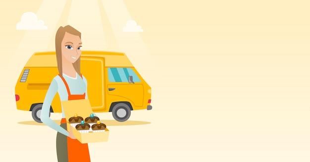 Bäcker liefert kuchen.