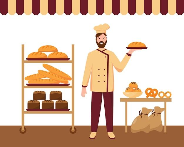 Bäcker mann in der bäckerei backte frisches brot, kuchen, brötchen und baguette auf regalen.