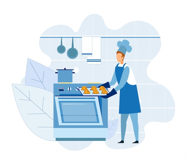 Bäcker-meisterkoch, der kleine kuchen oder muffins kocht