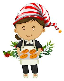 Bäcker und brot für weihnachtstag