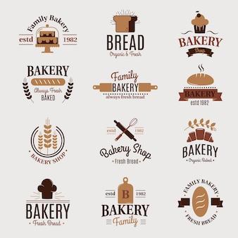 Bäckerei abzeichen ikone mode modernen stil weizen label design element konditor süßwaren laib und brot logo