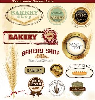 Bäckerei abzeichen und etiketten