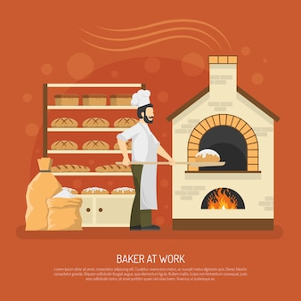 Bäckerei-arbeit-illustration