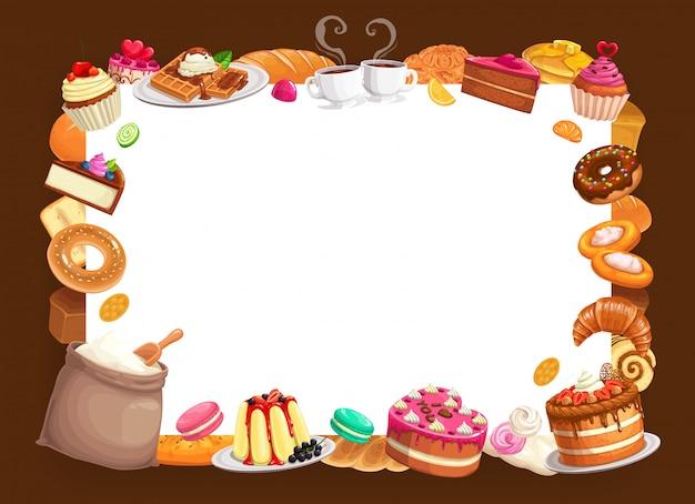 Bäckerei bäckerei gebäck und desserts rahmen