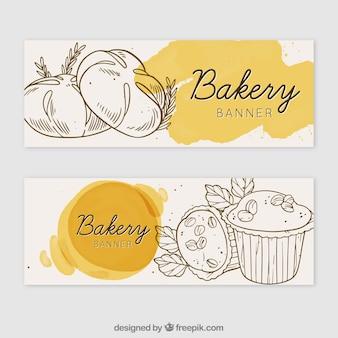 Bäckerei banner in aquarell-stil