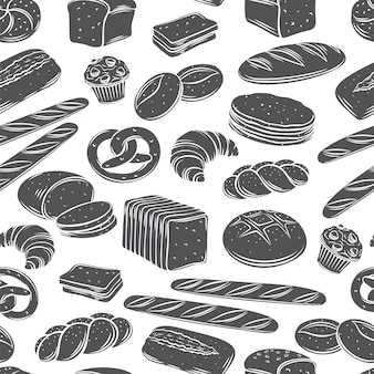 Bäckerei brot nahtlose muster monochrome glyphe