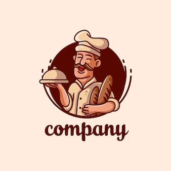 Bäckerei-chef-maskottchen-vektor-logo-illustration