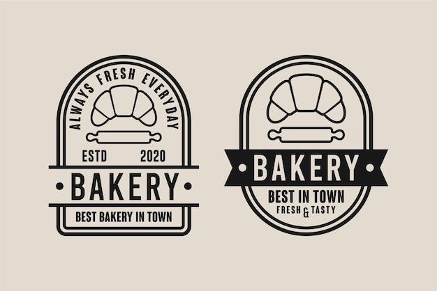 Bäckerei design logo set