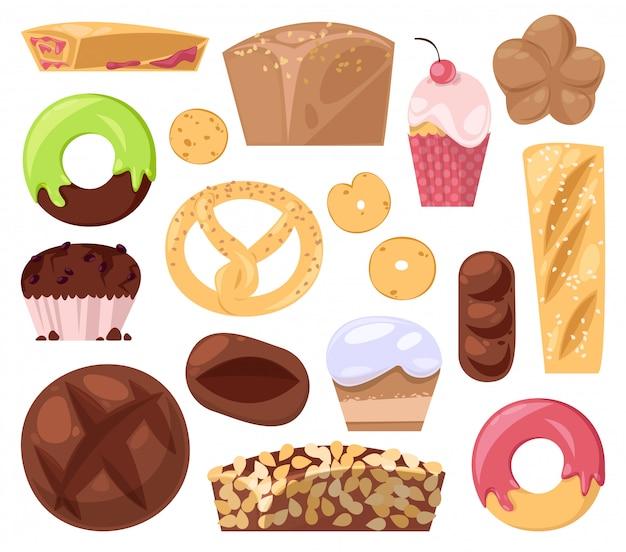 Bäckerei, die gebäckbrot oder -laib und gebackenen donut für frühstücksillustrationsmuffin und cupcakes backt, lokalisiert auf weißem hintergrund