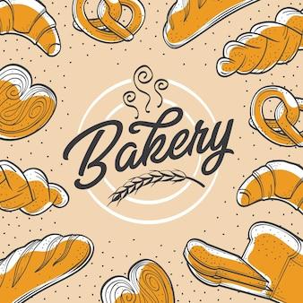 Bäckerei-display und hintergrunddesign