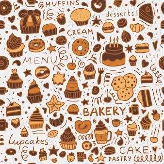 Bäckerei doodle nahtlose muster: dessert muffins, cupcakes, gebäck und kuchen.