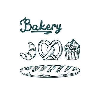 Bäckerei-doodle-set mit französischem baguette-brot-cupcake-brezel und croissant set mit bäckerei-desserts