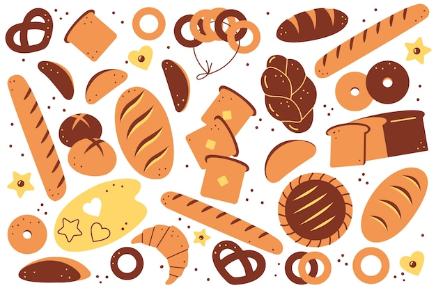 Bäckerei doolde eingestellt. hand gezeichnete brotlaibe gebäckplätzchen toastbrötchen croissants donuts mahlzeit ungesunde ernährung nahrung auf weißem hintergrund. abbildung gebackener weizenprodukte.