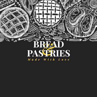 Bäckerei-draufsichtrahmen. übergeben sie gezogene vektorillustration mit brot und gebäck auf kreidebrett.