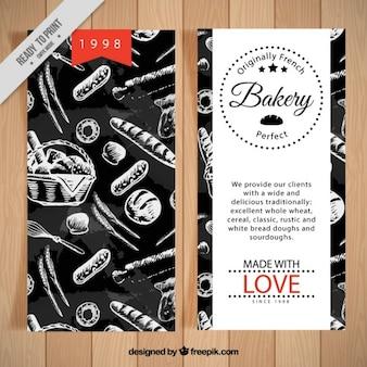 Bäckerei-flyer mit zeichnungen