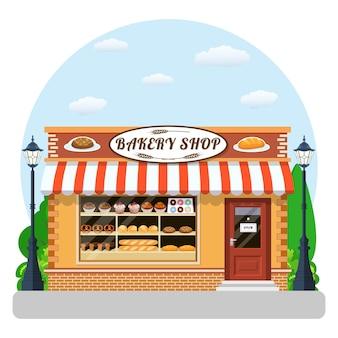 Bäckerei-frontansicht-flaches symbol.