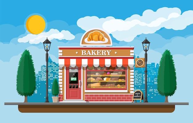 Bäckerei-gebäudefassade mit schild. bäckerei, café, brot-, konditorei- und dessertladen. vitrinen mit brot, kuchen. stadtpark, straßenlaterne, bäume. markt, supermarkt. flache vektorillustration