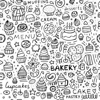 Bäckerei gekritzel nahtloses muster dessert muffins cupcakes und kuchen schwarz-weiß-satz von gebäck